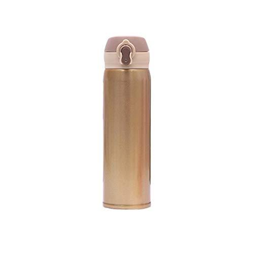 Thermoskan met drukknoop, hothap waterbeker, fles roestvrij staal, reisbeker, koffie, vacuüm-geïsoleerd thermo goud