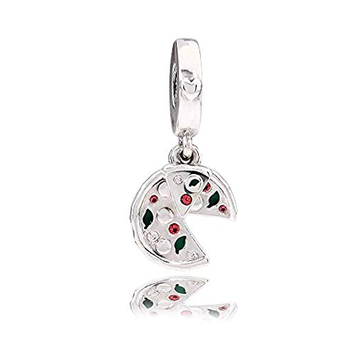 Passion Pizza Authentic 925 Sterling Silver Bead Charm Fits Pandora Charm Bracelet DIY Crafting