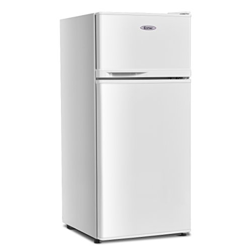 COSTWAY Compact Refrigerator, 2-Door 3.4 cu. ft. Fridge, Freezer Cooler Unit for Dorm, Office, Apartment with Adjustable Removable Glass Shelves(White)