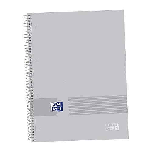 Oxford, Cuaderno Microperforado A4+, Europeanbook1 Oxford & You, Tapa extradura, Cuadrícula 5x5, 80 Hojas, 90 grs, Color Pure Grey