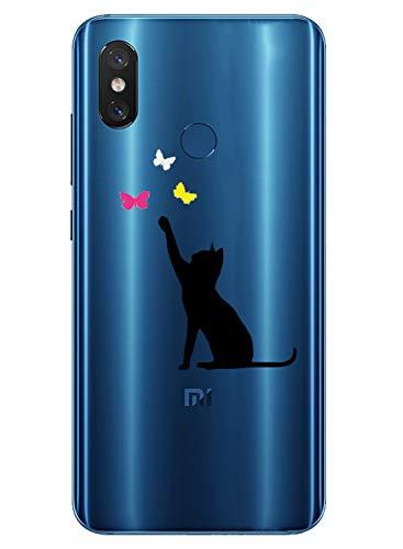 Oihxse Transparente Silicona Case Compatible con Xiaomi Redmi 8A Funda Suave TPU Protección Carcasa Moda Dibujos Animados Divertida Diseño Ultra-Delgado Cubierta-Gato