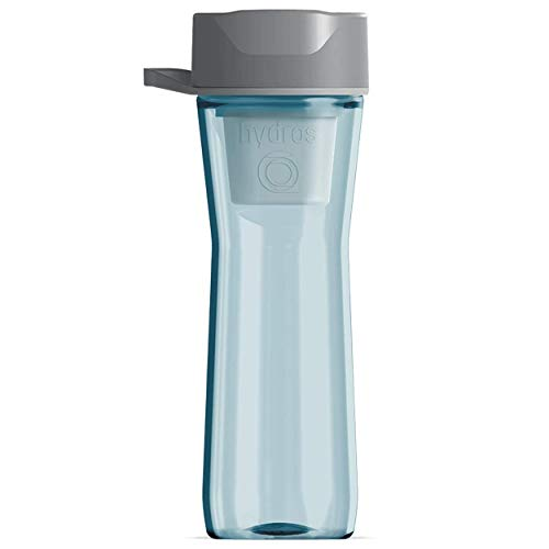 Hydros 20 oz Water Bottle with Filter Powered by Fast Flo Tech | 20 Seconds Quick Fill Up BPA Free Pale Portable Water Filter Bottle Blue