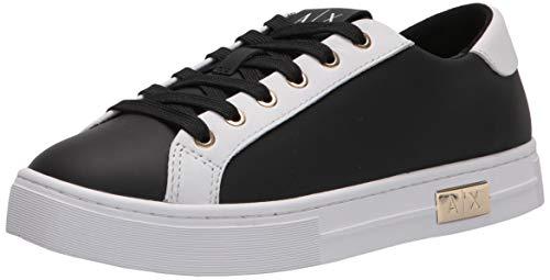 Armani Exchange Damen Calf Leather Classic Sneaker, Op. White + Black, 36 EU