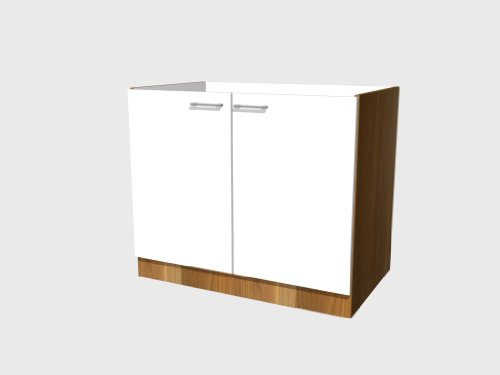 'Smart Möbel Spülenunterschrank ohne Arbeitsplatte 100 cm Perlmutt glänzend - Como