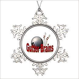 Cukudy Große Weihnachtsbaumschmuck, Rinnen-Gehirne, Bowling-Anstecknadel, Schneeflocke, Dekoration, lustig