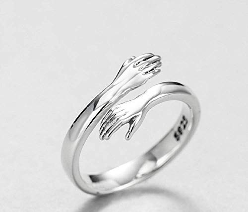 Weishu 925 Sterling Silver Ring Women's Dress Girl Silver Hug Hand Open Ring Jewelry Lady (Unisex)