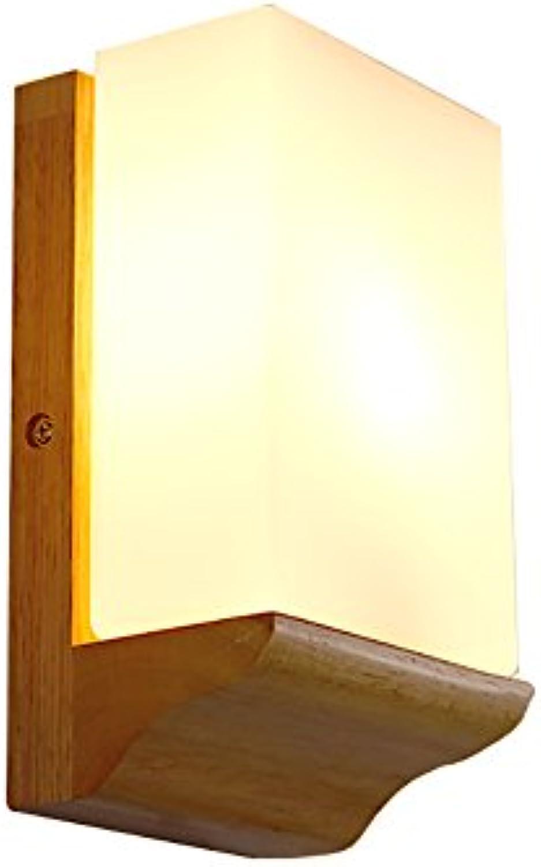 Wandleuchte Wandmontiert Kreative, Led Schlafzimmer Nachttisch Lampe Massivholz Lichter Einfache Gang Lichter, E14 (gre   1221cm)