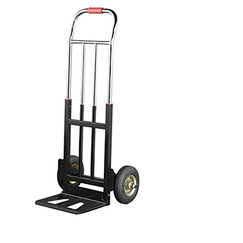 N / A Foldable trailer, four tie rods, high carrying capacity, sturdy rubber wheels are sturdy and durable, suitable for household or outdoor mobile cargo handling.