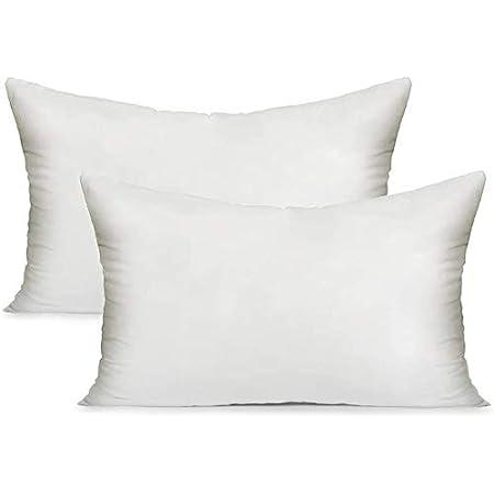 MoonRest Premium Lumbar White Pillow Insert Form with Hypoallergenic Polyester Fiber Filling, sham Stuffer for Sofa Throw - Set of 2 - 14x22 Inch