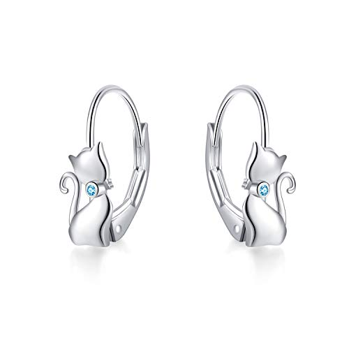 YAFEINI Katzen Ohrringe 925 Sterling Silber Katzen baumeln Creolen, Katzenschmuck Geschenk für Damen, Mädchen (Blaue Katzen Ohrringe)