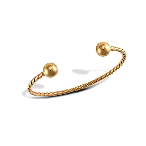 Jewelco London Ladies Solid 9ct Yellow Gold Twisted Torque 2.5mm Bangle Bracelet