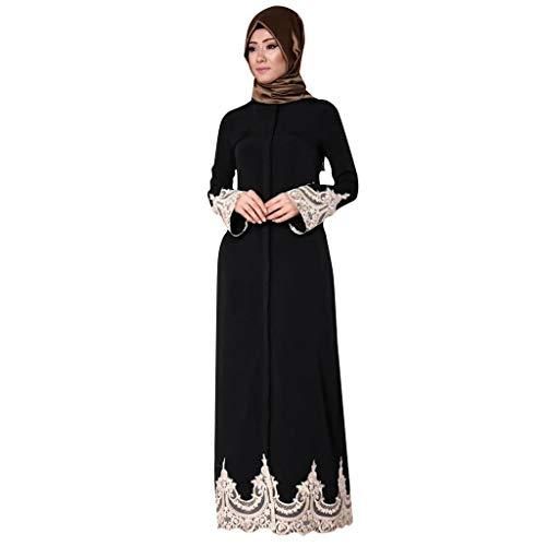 Robe Musulmane Femme Longue, Robes de Abaya Maxi Dentelle Paillette Manches Longues Arab Islamic Jupes Ethnique Robe Musulmans avec Broderie Robe de Soirée Partie Respirant
