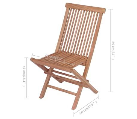Set 4 Sedie Pieghevoli da Esterno, Sedie da Giardino in Legno di Teak, Sedie da Pranzo da Giardino/Patio/Balcone per Esterno