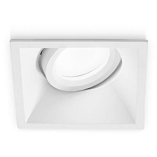 Faretto Incasso Gea Led Gfa241 Gu10 7w Led Ip20 Orientabile Alluminio Nero Bianco Opaco Spot Direzionabile Cartongesso Quadrato, Bianco opaco
