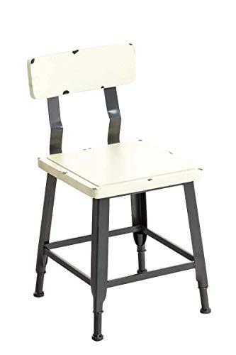 CLP Holzstuhl Till im Industrial-Look I Bistrostuhl mit Holzsitz und Metallgestell I Esszimmerstuhl mit Fußstütze, Farbe:antik-Creme