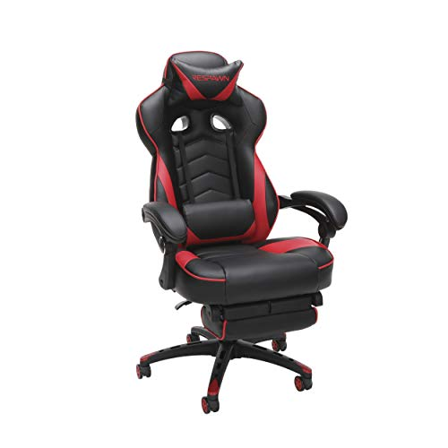 RESPAWN 110 Racing Style Gaming Chair, Reclining Ergonomic Leather Chair with Footrest, in Red...