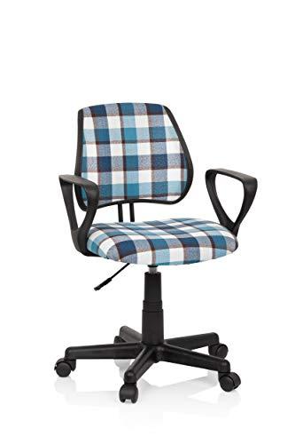 hjh OFFICE 725109 Kinderdrehstuhl KIDDY CD Square Stoff Blau/Weiß Kinder Schreibtischstuhl Karo, Rückenlehne höhenverstellbar