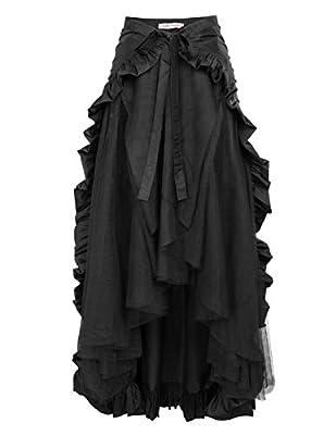 Belle Poque Steampunk Renaissance Pirate Skirt for Women Victorian Ruffled Skirt L Black