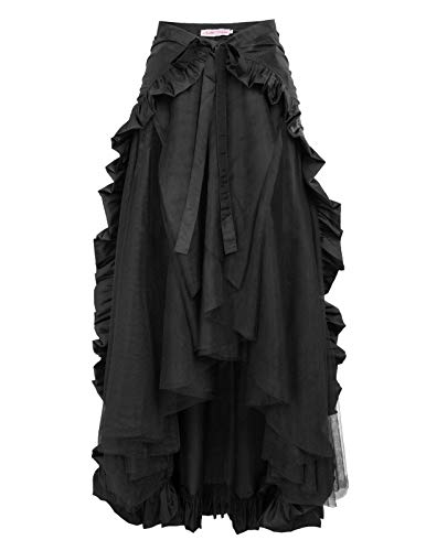 Belle Poque Black Steampunk Victorian Pirate Skirt Gothic Costumes for Women S Black
