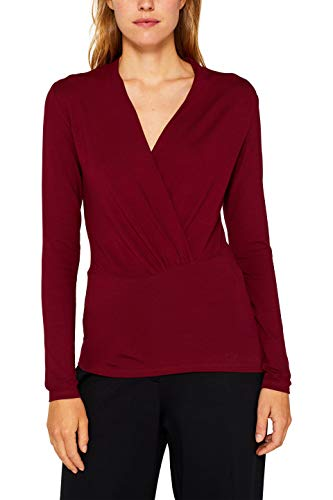 ESPRIT Collection Damen 999Eo1K809 Langarmshirt, Rot (Garnet Red 620), X-Large (Herstellergröße: XL)