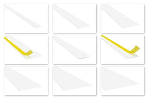 HEXIM Fenster/PVC Flachleisten 3mm Stärke - Kunststoffleisten 20 bis 200mm Breite, wahlweise selbstklebend - 2 Meter HJ 109(50x3mm mit Filmklebeband)