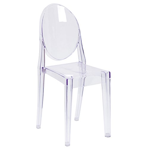 Flash Furniture Ghost Side Chair in Transparent Crystal, 1 Pack