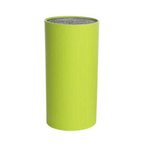 Universal Messerblock Kunststoff ohne Messer Borsten-Einsatz unbestückt rund ( Ø 9 cm / Höhe:14 cm, Hellgrün)