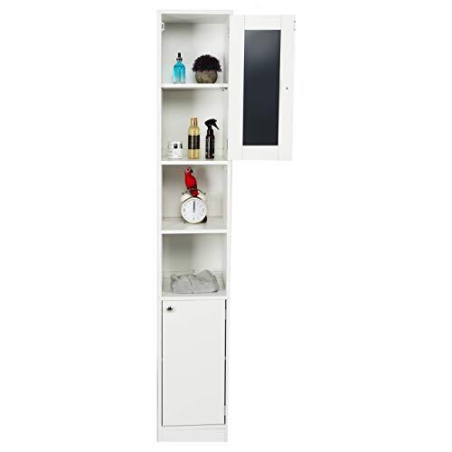 Wakects Armario de baño, armario alto, armario de baño con espejo y 2 compartimentos abiertos, organizador para el hogar