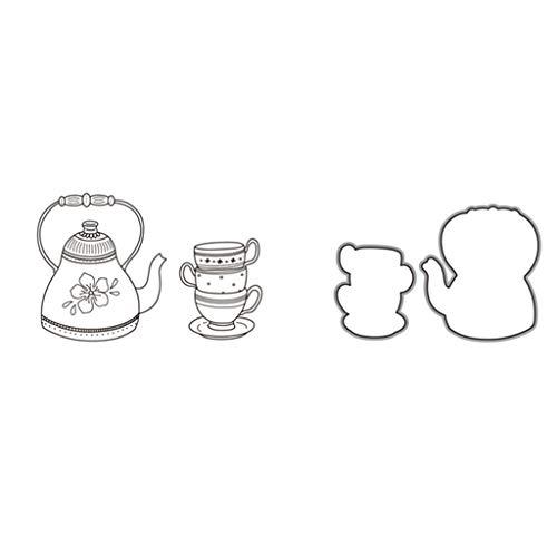 Luluspace Stanzschablonen Metall Stanzformen Teekanne Silber Schneiden Schablonen Für DIY Cutting Dies Scrapbooking Album, Schneiden Schablonen Papier Karten Sammelalbum Deko