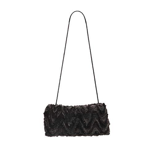 SwirlColor Handwärmer Muff Hand Muff mit Halsband Plüsch tragbare Mode Handwärmer für Mädchen im Winter (schwarz)