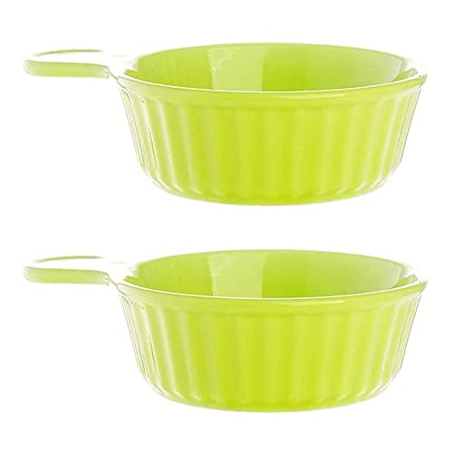 Baking Dish,Ceramics Baking Dish With Handle Round Shape 2Pcs For Pasta Pot Pie Deserts Gratin Dishes Puff Pastry Burnt Custard Cheese (5 Color),Red Wmeili (Color : Grass green)