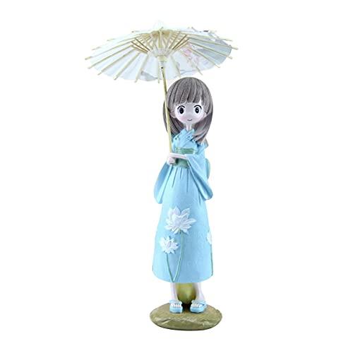 ZIYIXIN Anime Figure Anime Room Decor,Anime Aolls Umbrella Kimono Girl,Lovely Quadratic Element Ornaments Version Statue Doll Collection (Blue, 25cm9cm7.5cm)