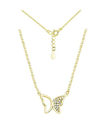 *Beforya Paris* - Vergoldet Berühmtheit Schmetterling mit Zirconia Swarovski - Halskette - Silber 925 Vergoldet 24 K - Schön Damen Halskette - Wunderbare Damen Halskette mit Geschenkbox