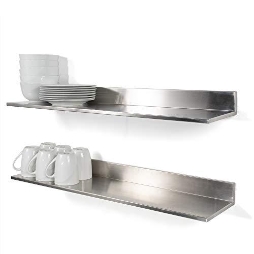 Wallniture Plat Stainless Steel Wall Shelf Heavy Duty Restaurant Bar Cafe & Home Kitchen Organization and Storage Shelf Set of 2 30.8 Silver