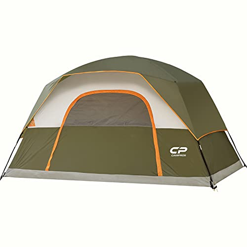 CAMPROS Tent-6-Person-Camping-Tents, Waterproof Windproof Family Dome Tent with Top Rainfly, Large Mesh Windows, Double Layer, Easy Set Up, Portable with Carry Bag, for All Seasons - Olive