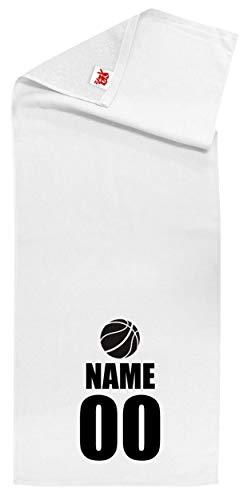 /ZZZB/名入れ 【スポーツ】【バスケットアイコン】【白シャーリングタオル】【黒文字】【フリー】 PRIME