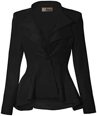 Women Double Notch Lapel Office Blazer JK43864 1073T Black XLarge product image