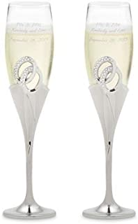 Things Remembered Personalized Double Ring Silver Toasting Flutes with Engraving Included