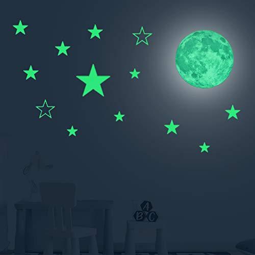 Autocollant Fluorescent étoiles Brillantes Lune Stickers Muraux Chambre Décoration De Nuit lune étoiles Poudre Fluorescente Lumineux Stickers Muraux Autocollants Lumineux Plafond