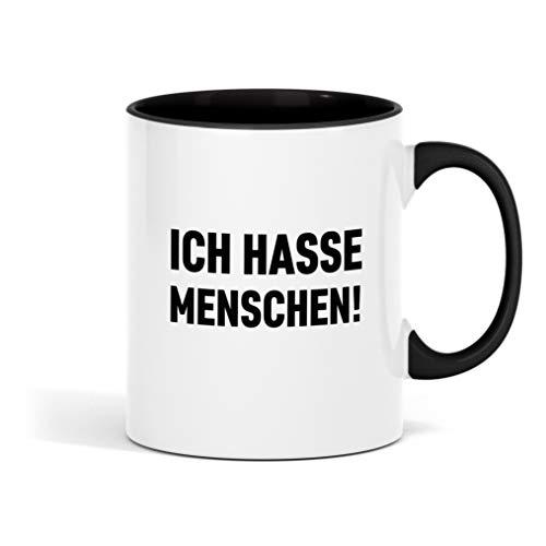 Outfitfaktur Ich Hasse Menschen - lustige Kaffeetasse für Büro, Arbeit und Kollegen