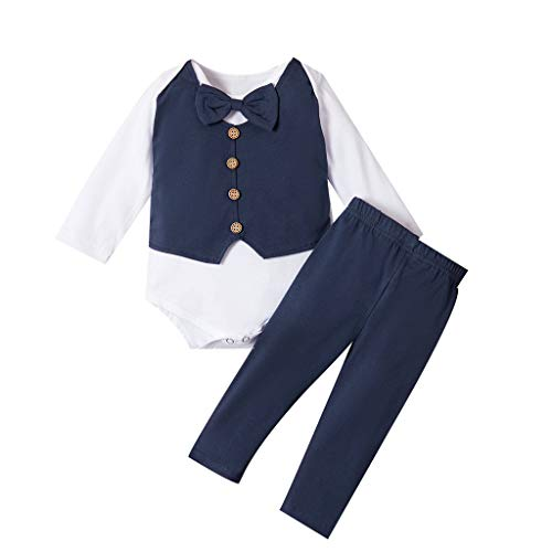 Hui.Hui (0-24) Boy Set Little Gentleman Bow Tie Shirt à Manches Longues Harmony + Trousers Two Piece Set