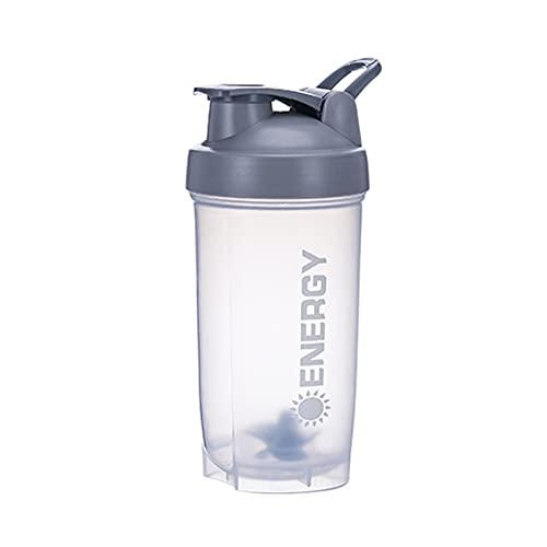 GRASARY Botella agitadora de 500 ml con bola mezcladora, hervidor de agua portátil a prueba de fugas, gran capacidad, mezcla taza de agua para viajes de fitness, color gris