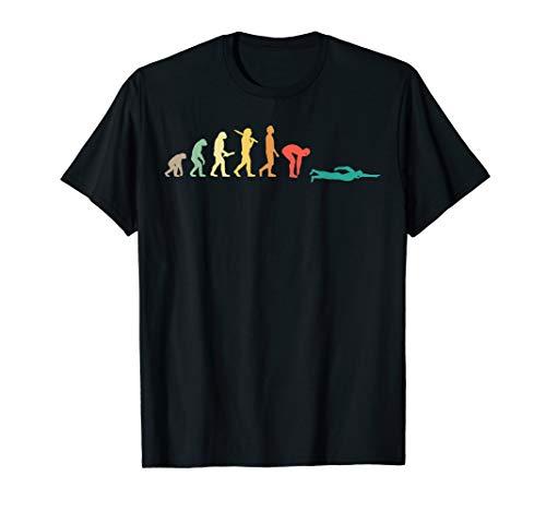 Retro Schwimmen Evolution Geschenk für Schwimmer T-Shirt