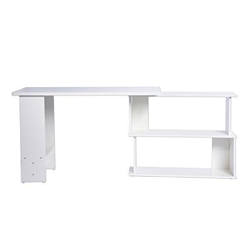 Escritorio de escritura, mesa de trabajo plegable esquinera, color blanco ajustable con estantes para oficina