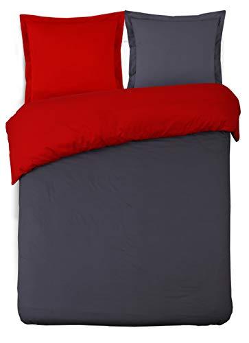 Vission - Funda nórdica Reversible, algodón, Antracita/Rojo, 240 x 220 cm