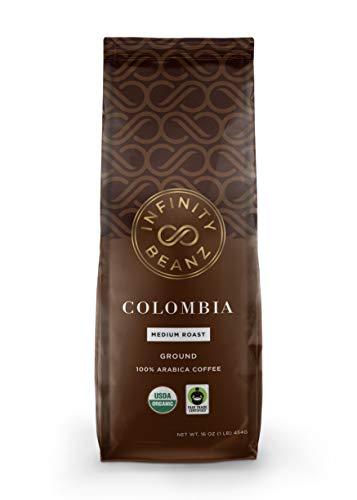 Colombian Ground Coffee, Medium Roast Coffee [16oz.] USDA Certified Organic, Fair Trade, 100% Arabica Beans - Infinity Beanz