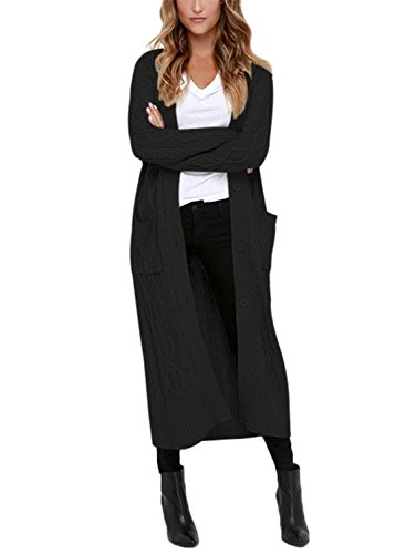 Dearlovers Womens Open Front Button Up Casual Long Maxi Cardigans Knit Sweater Outerwear Large Size Black