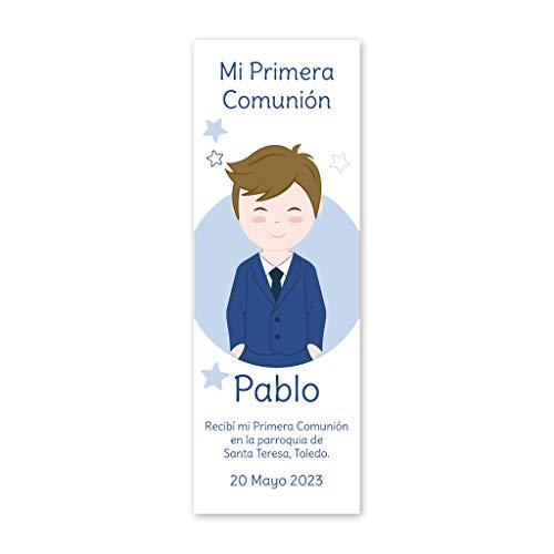 Marcapáginas recordatorios de Primera Comunión niño vestido con traje azul. Pack 25 udes. Punto de libro.