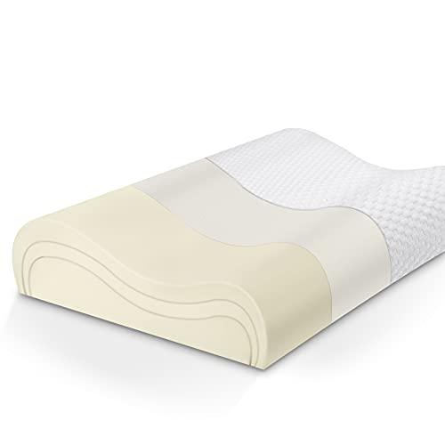 LITSPOT Almohada Cervical Altura Ajustable Almohada Ergonómica con Memoria de Forma, Funda Lavable,Aliviando Dolor de Cuello