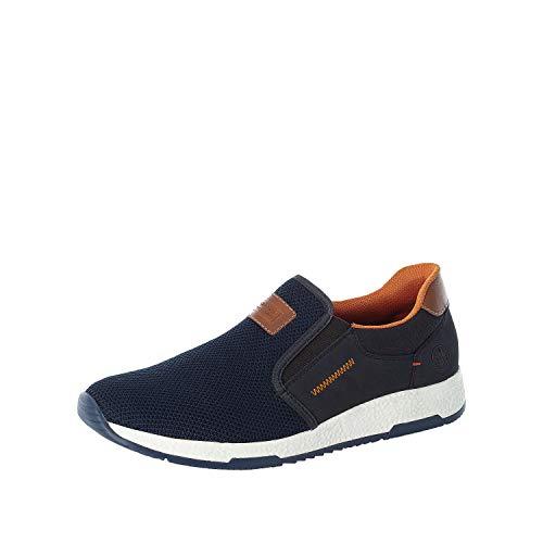 Rieker Hombre Zapatillas B3450, de Caballero Bajo,Zapatos Bajos,Zapatos de Calle,de Ocio,Deportivos,Azul (Blau / 14),40 EU / 6.5 EU